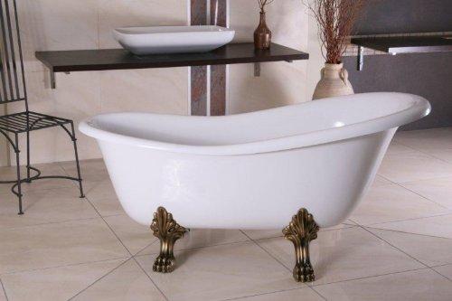 Casa Padrino Freistehende Luxus Badewanne Jugendstil Roma Weiß/Altgold 1470mm - Barock Badezimmer - Retro Antik Badewanne