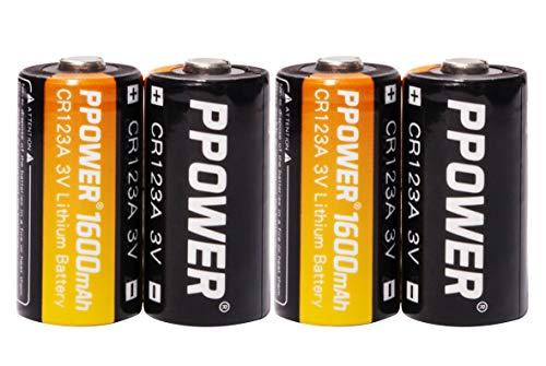 PPOWER CR123A Lithium-3V-Fotobatterien mit Aufbewahrungsbox für Batterien, 4-20er-Pack 1600 mAh CR123A-Batterien für Arlo-Kameras, Polaroid, Mikrofone, Taschenlampe, Nicht wiederaufladbar (4pcs)