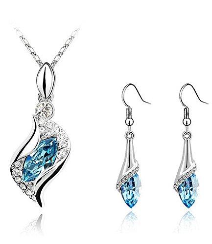Celebrity Jewellery Oro Blanco Plateado KC Ángel Crystal Océano Ojos Azules Austriaco Collar Pendientes establecidas