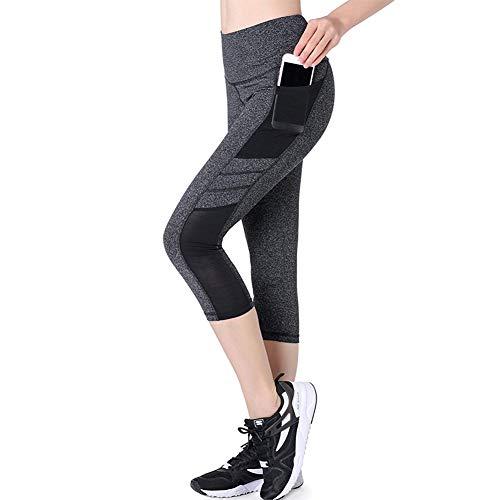 Joyshaper Sporthose Damen 3/4 Sport Leggings Shaping Tights Hoch Taille Atmungsaktive Mesh Yoga-Fitness-Hose mit Handytasche