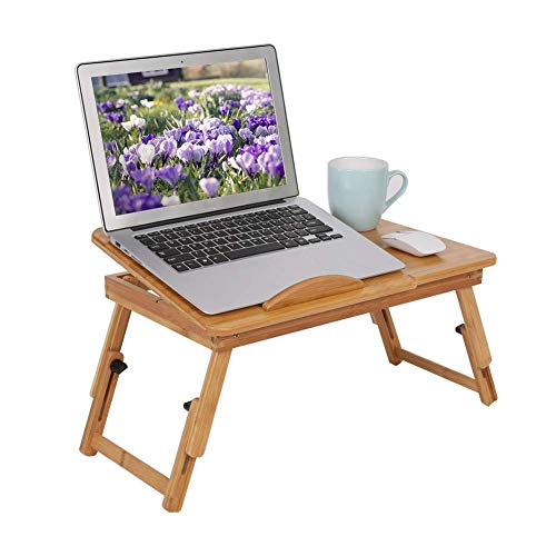 WENYAO Laptop Stand Bed Lap Desk Adjustable Laptop Support Tray Bamboo Breakfast Tray for Eating Laptops, Height Adjustable Portable Bed Tray Sofa Side Table with Handles Reading Tray Stand, Bamboo