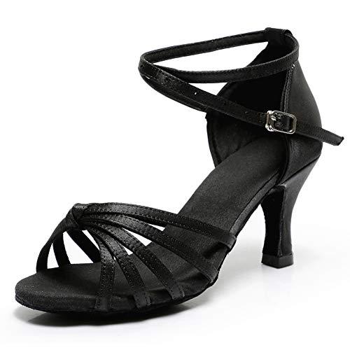 VASHCAME - Donna Scarpe da Ballo Latino/Sala da Ballo/Standard Tacco 5cm/7cm Nodo Nero 39 (Tacco-7cm)
