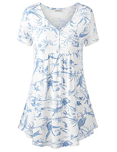 BAISHENGGT Women's V Neck Buttons Pleated Flared Tunic Tops White Floral M