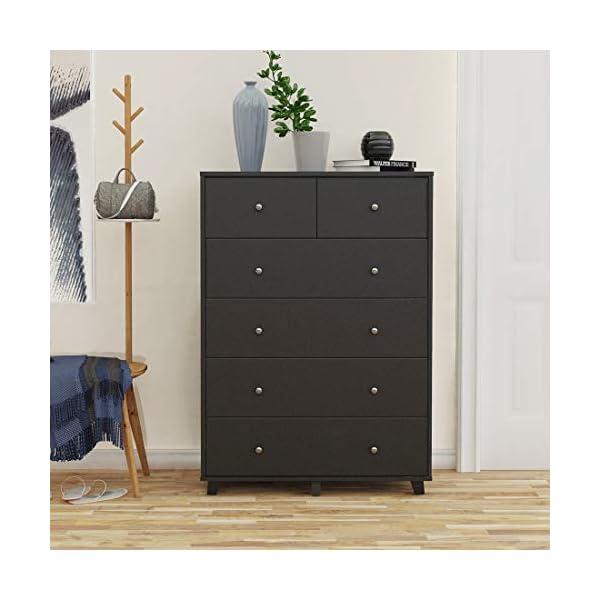 Cozy Castle 6-Drawer Dresser, Wood Black Dresser, Chest of Drawers for Bedroom, Vertical Dresser, 2 Small Drawers and 4 Large Drawers Sufficient for Bedroom Storage