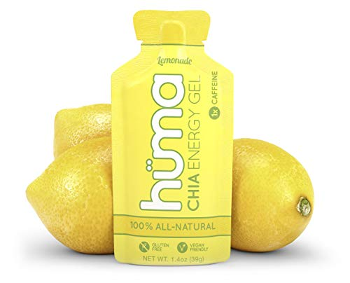 Huma Chia Energy Gel, Lemonade, 12 Gels, 1x Caffeine - Premier Sports Nutrition for Endurance Exercise