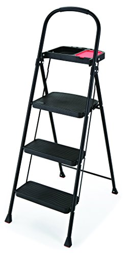 Rubbermaid RMS-3T 3-Step Steel Step Stool with Project Tray, 225-pound Capacity,Black