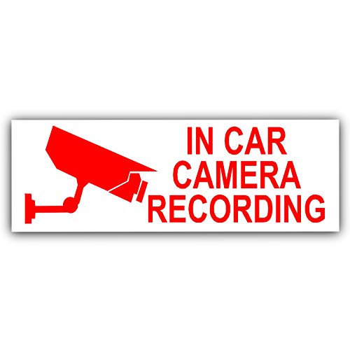 5 x voiture enregistrement STANDARD pour appareil photo-Rouge/blanc-sécurité Stickers- x 87 mm 30 mm -Dashboard CCTV signe Van, Camion, Bus Taxi, camion, Mini cabine, Minicab Pro-Go, caméra