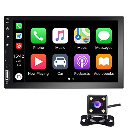 Hikity Double Din Car Stereo 7 Inch HD Touch Screen Radio Bluetooth FM Receive with USB/AUX-in /SD Card Input Support Mirror Link D-Play for Android iOS Phone + Backup Camera & Remote Control