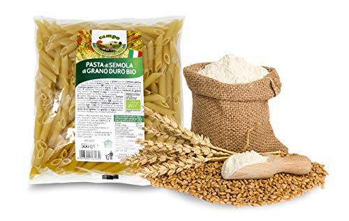 Carioni Food & Health Macarrones con sémola de Trigo Duro ecológica, Pasta Italiana - 500 gr (Paquete de 12 Piezas)