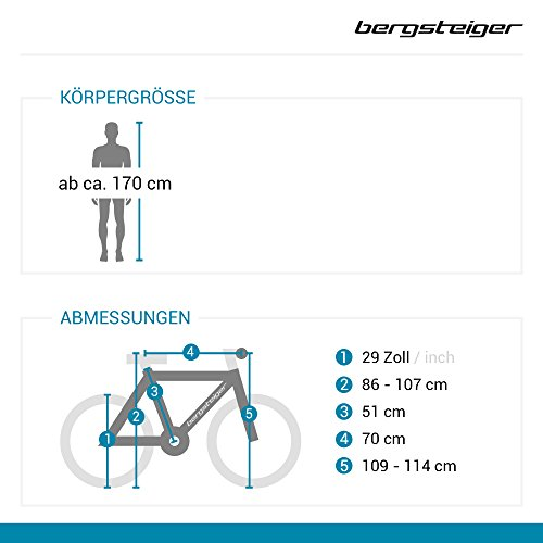Bergsteiger Detroit 29 Zoll Mountainbike, geeignet ab 170 cm, Scheibenbremse, Shimano 21 Gang-Schaltung, Gabel-Federung mit Lockout-Funktion, Jungen-Fahrrad & Herren-Fahrrad - 2