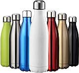 Cieffe- Borraccia Termica In Acciaio Inox Per Sport , Scuola, Lavoro- Bottiglia Acqua, Senza BPA 820Ml (bianco)