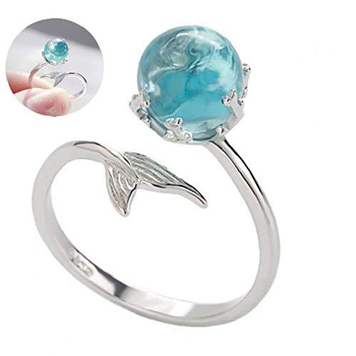 TongICheng 1 st verstelbare vinger ring zeemeermin open ringen 925 sterling zilver wrap rond gedraaid touw band ringen (blauw)