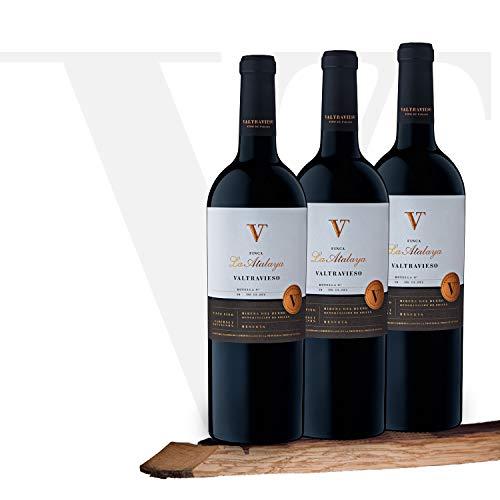 Caja Vino Tinto Valtravieso Reserva Finca la Atalaya Premium - Estuche Regalo Vino Ribera del Duero Tinto Fino (80%) Cabernet Sauvignon (10%) y Merlot (10%) - Pack de 3 Botellasx750 ml