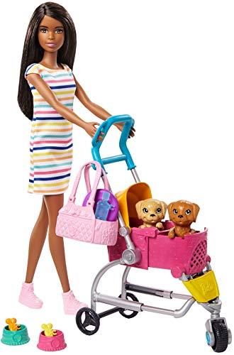 Barbie GHV93 - Barbie Hundebuggy Spielset mit Barbie-Puppe, 2 Hündchen und Wagen für die Hündchen