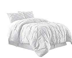 small Chezmoi Collection Berlin 3-piece frilled and pleated blanket (queen, white)