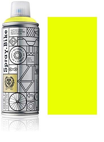 Fahrrad Lackspray in NEON Farben - KEINE GRUNDIERUNG notwendig - Acryllack/Lack Spray in 400 ml Spraydose, Matt- und Klarlack Optik möglich (Matt, Neon Gelb)