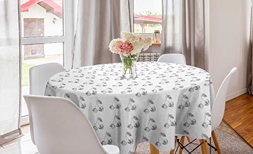 ABAKUHAUS Esquisser Nappe Ronde, Doodle griffonnages de Cerises, Nappe en Cercle pour Salle à Manger ou Cuisine, 150 cm, Dimgray et Blanc