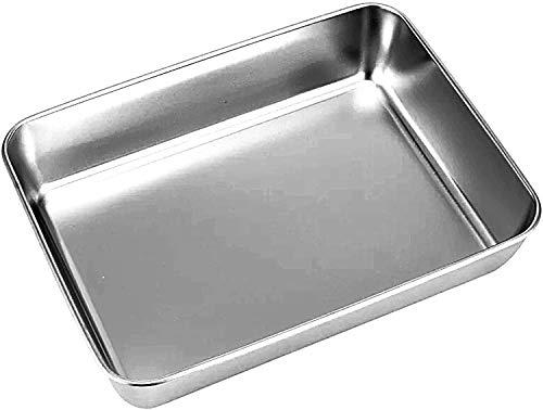 Güker Backblech aus reinem Edelstahl, rechteckiges Kuchenblech Ofenblech zum Backen Kochen, tiefer Rand, hochglanzpoliert und spülmaschinenfest-25x30x5.5m