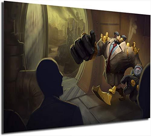 Coobal Lea-gue of Leg-ends Artwork Painting Blitzcrank Videojuegos Decoración de pared Póster Decoración de pared Decoración del hogar, 61 x 91 cm sin marco