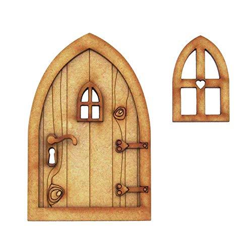 Blssom beliebteste Wichteltür, Feentür, Mäusetür, Elfentür aus Holz Zum öffnen mit Lustigem Wichtel,Spielhausdekorationstür Basteltür 3D-Deko zur Selbstmontage Elfentür Wichteltür Set