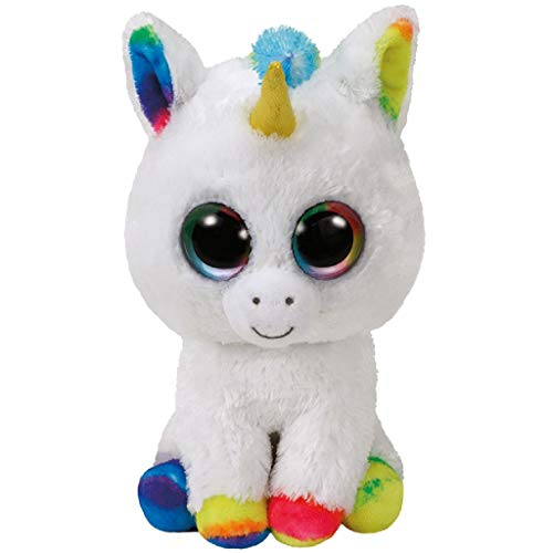Ty 37157 PIXY, Unicorno con Occhi Luccicanti, Glubschi S, Beanie Boo S, Peluche, Bianco/Colorato, 24 cm, Colore