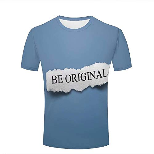 Mens 3D Printed Casual Summer T-Shirts BE ORIGINAL/Blue Novelty Couple Novelty Short Sleeve Polyester T-Shirts Tees S