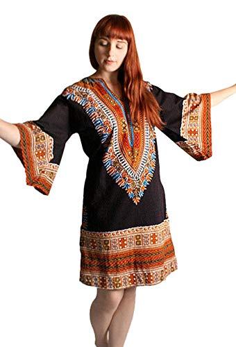 Women's Dashiki African Dresses Bohemian Vintage Traditional Cultural Pan-African Wear Dress Plus Size Black