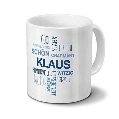 printplanet Tasse mit Namen Klaus Positive Eigenschaften Tagcloud - Blau - Namenstasse, Kaffeebecher, Mug, Becher, Kaffeetasse
