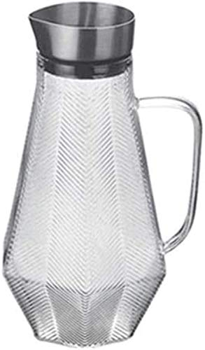 Jarra de vidrio Jarra de vidrio de la jarra de agua Jarra con tapa con hielo helado y manija Borosilicato Resistente al calor Jarra de vino Toma de vino Jugo de leche Leche Jarra de bebidas con sput 1