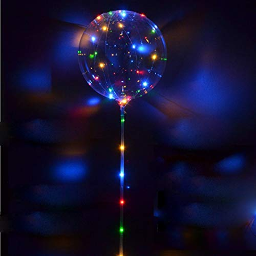 LED Light Up Balloons,Flashing Handles,Reusable Transparent Bubble Balloons,Event Birthday Wedding Party Decoration