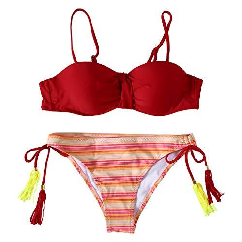 Fifimin Women Ṡxxy Solid Bra Floral Print Low Waist Thongs Bikini Set Two-Piece Swimsuit