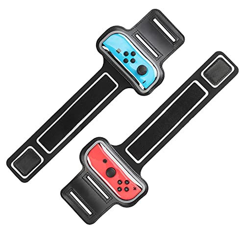 MoKo Correa de Muñeca Compatible con Nintendo Switch Just Dance 2021/2020/2019, Zumba Burn It Up, Cardio Boxing Series, [2 PZS] Bandas Elásticas Muñequeras Brazaletes Cpara Joystick Mando, Negro
