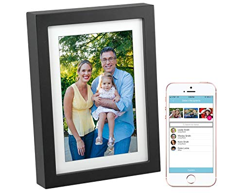 PhotoSpring 8in WiFi Digital Photo Frame with Touch Screen and Battery. Load photos from anywhere via Email, App, or Web. Displays Pictures and Videos. Black 16GB