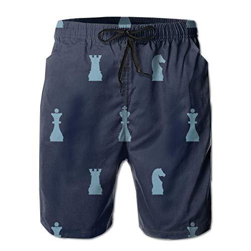 Traje de baño de ajedrez para Hombre Trajes de baño de Secado rápido Pantalones Cortos de Playa para Vacaciones de Verano con Bolsillos L