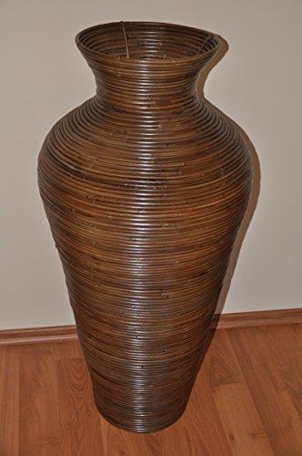 Rattanvase , Rattan Bodenvase , Rattan Dekovase , Fb. darkbrown , Gr. D 40 cm H 89 cm