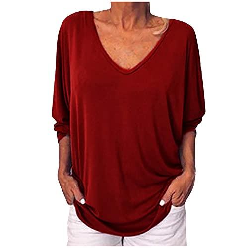 Blusa de túnica de color sólido con cuello en V para mujer, talla grande, talla 3/4, con mangas, Con escote, XL, Rojo