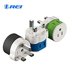 Outlet adapter Type G Plug - works in countries such as England, Hong Kong, Dubai, Saudi Arabia 2 inputs - This adapter accepts the standard USA n. American 2 or 3 prong flat pin Plug (including polarized) in the back and American 2 prong on the bott...