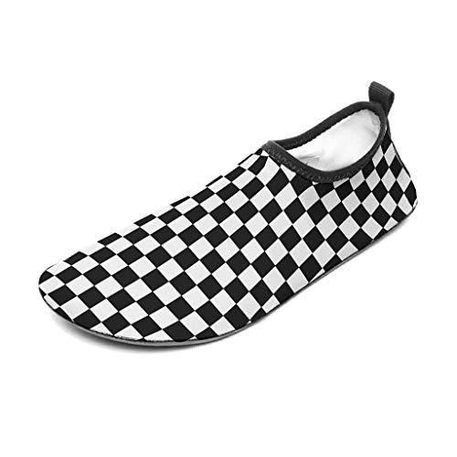 Tentenentent – Zapatillas de goma con tablero de ajedrez para hombre, divertidas en blanco y negro, para deportes acuáticos y nadar White4 36/37