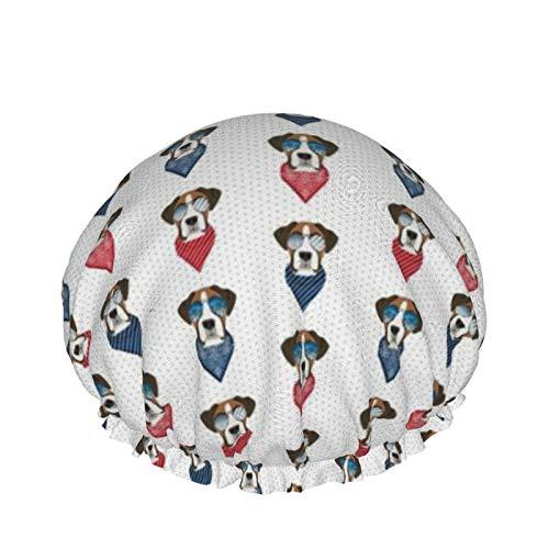 Gorro de ducha reutilizable, con doble capa exterior impermeable para todas las longitudes de pelo (Boxer gafas de sol de raza perro de verano blanco)