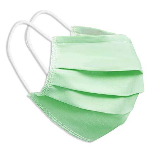 Behelfsmaske Alltagsmaske Community-Maske - Farbe hellgrün - mehrfach verwendbar (waschbar) - mit Nasenclip - Behelfsmundschutz Mundbedeckung Spuckschutz
