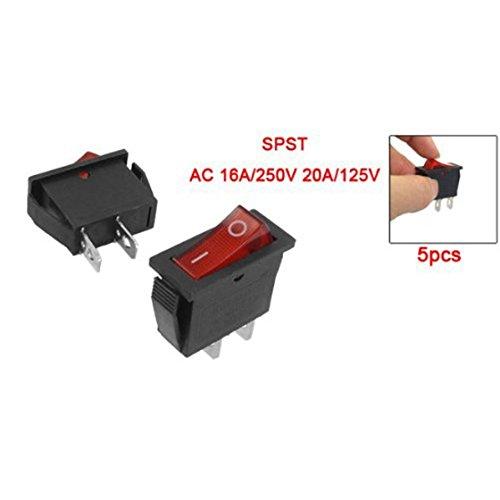 Cikuso 5 Pcs 2 Pin SPST Rouge Neon Lumiere On/Off Interrupteur a bascule AC 16A/250V 20A/125V