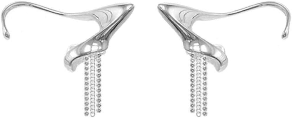 NC Flashing Diamond Tassel Chain Earrings Geometric Fairy Ear Ear Clip Earrings no Pierced Female Temperament Super Flash Tassel Earrings