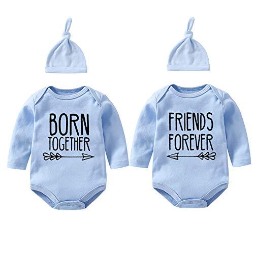 YSCULBUTOL Body Baby Twins Best Friends Forever - Conjunto de ropa para bebé con baberos y gorro - azul - 3-6 meses