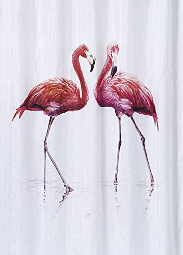 ARCE - Cortina de Ducha Poliester Premium de impresión Digital Impermeable 180X200 CM Flamingo, Antimoho y Antibacteriano, Incluye 12 Anillas para su colocación