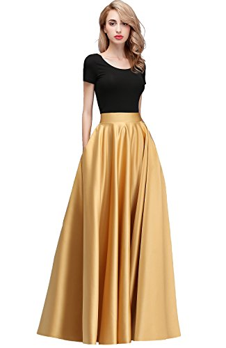 honey qiao Women Satin Skirts Long Floor Length High Waist Fomal Prom Party Skirts with Pockets Back Zipper Closure Gold