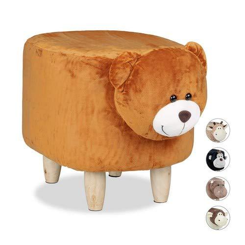 Relaxdays Tierhocker Bär, für Kinder, gepolstert, niedlicher Dekohocker mit Tiermotiv, aus Holz, mit Schonbezug, braun, H x B x T: ca. 35 x 32 x 40 cm