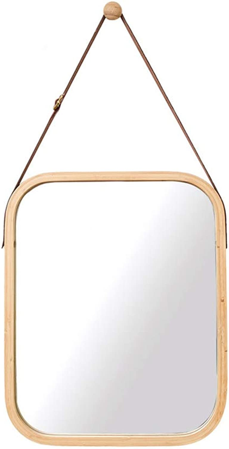 Bamboo Bathroom Mirror, Household Square Wall Mirror Decoration Hanging Mirror Vedroom Dressing Mirror Girl Dorm Room Dressing Mirror Makeup Mirror,Woodcolor