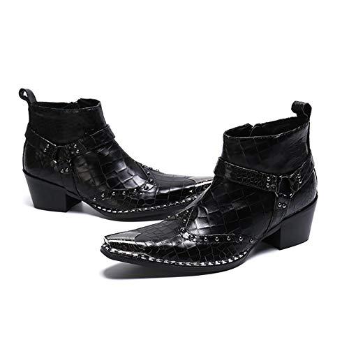 Wensa Cowboystiefel für Herren, Metallkappe Spitzen Lederschuhe Krokodil-strukturiertes Leder für Nachtclubschuhe Lässige Leder Cowboy Schuhe,37