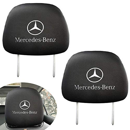 99 Carpro Black Slip Over Mercedes Benz Logo Printed Headrest Cover Set Fit for Mercedes Benz C E S M CLS CLK G Class Series Head Rest Covers Interior Decoration Accessories, 2 Pack