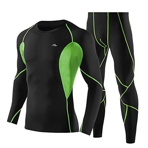 Minions Boutique Sport Compression Anzuege Maenner Schnell Trocknend Atmungsaktive Lauf Sets Training Fitness Gym Sportwear Tight Set Gruen XL